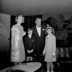 Princess Grace and Prince Rainier with their children, Princess Caroline and Prince Albert during inaugural cruise of the Renaissance, June 6, 1966.  Photo by James Claude.