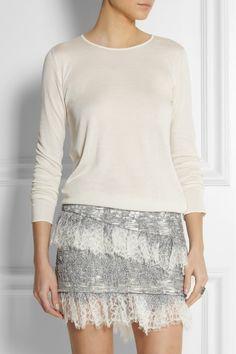 Jay Ahr|Fine-knit, bouclé and lace mini dress|NET-A-PORTER.COM