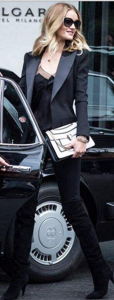 Rosie Huntington-Whiteley in Ring, purse, sunglasses, – Bvlgari  Shoes – Saint Laurent  Ring – Neil Lane  Jeans – Paige  Jacket – Balmain