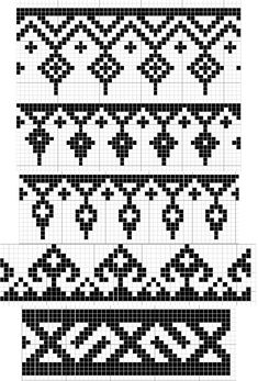 Charted Patterns from Medieval Egypt – Pattern Darning - Knitting Charts Tapestry Crochet Patterns, Fair Isle Knitting Patterns, Knitting Charts, Weaving Patterns, Knitting Stitches, Knitting Designs, Cross Stitch Borders, Cross Stitch Designs, Cross Stitch Patterns