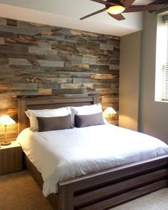 Now You Can Build ANY Shed In A Weekend Even If You've Zero Woodworking Experience! Start building amazing sheds the easier way with a collection of shed plans! Pallet Walls, Pallet Furniture, Pallet Wall Bedroom, Furniture Projects, Accent Wall In Bedroom, Master Bedroom Wood Wall, Wood Accent Walls, Plank Wall Bedroom, Diy Pallet Wall