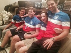 "Patrick Schwarzenegger wrote ""Upset that the USA men's team lost today but proud of how hard they played"". With brother Christopher, second from left.  July 4, 2014"
