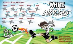 Ninjas-White-46610  digitally printed vinyl soccer sports team banner. Made in the USA and shipped fast by BannersUSA. www.bannersusa.com