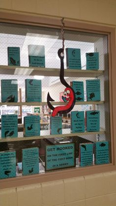 Middle school library book display. First lines of first books in a series.