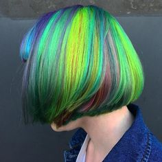 Electrify your locks with this multicolored hair style.