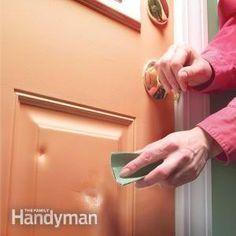 Patching dents in a metal door