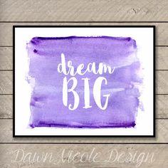 Modern Calligraphy Quote Dream BIG Custom by DawnNicoleDesign
