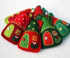 Felt Christmas ornaments, Red and green house ornaments