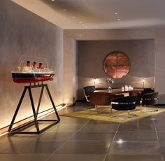 Mondrian London hotel interiors by Tom Dixon. The nautical theme continues inside of another hotel area Tom Dixon, Mondrian, Living Room Inspiration, Interior Inspiration, Furniture Inspiration, Top Interior Designers, Top Designers, Hotel Interiors, London Hotels
