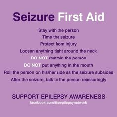 First Aid for Seizures / Epilepsy Epilepsy Quotes, Epilepsy Facts, Epilepsy Seizure, Epilepsy Awareness, Seizure Symptoms, Disability Awareness, Doterra, Seizure Disorder, Brain Injury