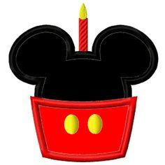 Machine Embroidery Birthday Cupcake Mickey Mouse Joy