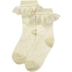 Monsoon Girls Beautiful Sparkle Lace Socks ($10) ❤ liked on Polyvore featuring intimates, hosiery, socks, sparkle socks, lace socks, lace trim socks, sparkle hosiery and lacy socks