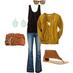 yellow and black outfit. like it all except for the sandals.  just can't seem to get on board with those :/