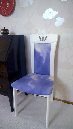 DIY reupholstered chair, cushion fabric hand painted linen