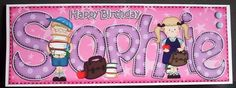 Large DL Boyz Girlz Birthday SOPHIE 3D decoupage on Craftsuprint designed by Carol Clarke - made by Joyce Watson - I printed this sheet on to glossy photo paper. Attached the base image on to a large white DL card using DST, then used glue gel to add the decoupage panel. Used foam pads to add the card candi, and finished by adding the matching insert. - Now available for download!