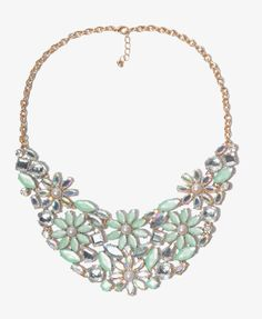 Bejeweled Flower Bib Necklace $14.80 This would perfect if one of your wedding colors is mint green.
