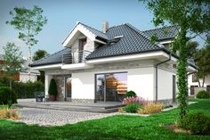 Średniej wielkości przytulny domek parterowy ,niepodpiwniczony , z użytkowym poddaszem. Utila, Architectural House Plans, My Ideal Home, Roof Structure, Home Fashion, Exterior Design, Interior Inspiration, Colonial, House Design