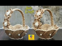 diy wall decor DIY Flower Basket with Jute Rope and Cardboard Rope Basket, Flower Basket, Basket Weaving, Blanket Basket, Basket Bag, Gift Basket, Diy Home Crafts, Diy Arts And Crafts, Creative Crafts
