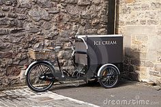 Ice Cream Cart With Bicycle by Matthew Ragen, via Dreamstime Ice Cream Smoothie, Sorbet Ice Cream, Mobile Cafe, Mobile Shop, Coffee Carts, Coffee Shop, Bike Coffee, Picnic Pops, Bicycle Cart