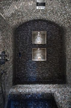 The home spa look is a must for 2013. Check out this Black Lip Mother of Pearl Steam and Shower Room in the UK we've just been working on. Amazing right? #interiordesign #home #spa