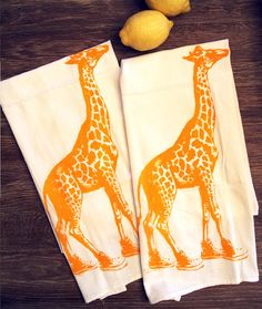 Set of 2 Towels - GIRAFFE (in High Tops) - Multi-Purpose Flour Sack Bar - Renewable Natural Cotton on Etsy, $13.00