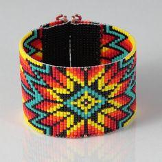 Native American Style Wide Cuff Bead Loom Bracelet Artisanal Jewelry Southwestern American Indian Western Beaded Boho Christmas Gift for Her