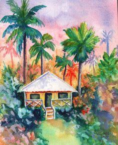 Original Plantation House Watercolor from Kauai by kauaiartist