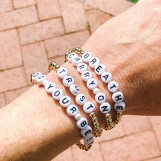 The mantra bracelets are a great gift to yourself or a friend to remember your favorite mantra everyday. A great stacking design or wear on its own. Bracelet Patterns, Bracelet Designs, Beaded Jewelry, Beaded Bracelets, Word Bracelets, Pulseras Kandi, Diy Bracelets Easy, Do It Yourself Crafts, Name Bracelet