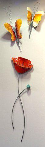 N-18 B S Παπαρούνα Poppy with Butterflies Παπαρουνα μονή με Πεταλουδες