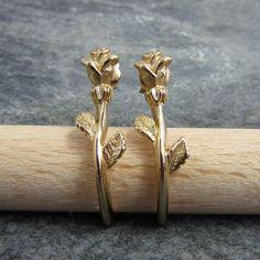 Vintage, Rose Earrings, Avon, Pierced, Hoops, Detailed, Unusual, Gold Tone by BonfireStudio on Etsy