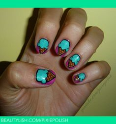 Teal ice cream on purple nails. Different Nail Designs, Cute Nail Designs, Love Nails, Fun Nails, Food Nail Art, Ice Cream Nails, Purple Nails, Purple Teal, Kegel