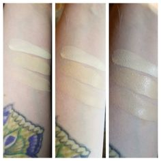 Nyx Total Control Drops on N0 skin. Top to Bottom are 01 Pale, 02 Alabaster, 03 Porcelain. Left is inside with my daylight bulb, middle is in direct sunlight and right is in indirect sunlight. I haven't tried these on my face yet so I can't say much about the finish etc but thought this might be helpful for my fellow ghost people.