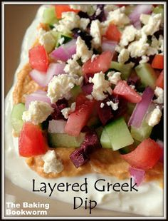 Layered Greek Dip {The Baking Bookworm} Impressive, fresh tasting and very easy to put together.  Opa! #greek #tzatziki #appetizer
