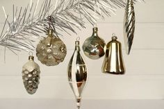 Antique Christmas ornaments Gold Tree decoration Gold Christmas decor Blown glass ornaments Cone Snowflake Icicle Ball Bell #36 by Retronom on Etsy