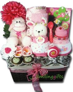 Jumbo Basket Pink. A beautiful gift basket for the baby girl with lots of goodies in it! Perfect baby shower gift!