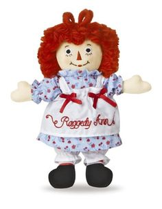 "8"" RAGGEDY ANN CLASSIC - SMALL  Raggedy Ann doll is dressed in vintage-inspired fabrics, has yarn hair and embroidered eyes."