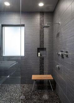 bathroom dark black tile