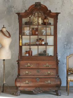 Antique Oak Cupboard Display Cabinet c. 1860 -