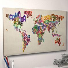 typography world map art print by artpause | notonthehighstreet.com