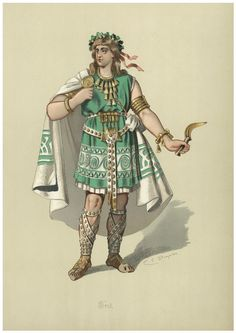 "Costume design (1876), by Karl Emil Döpler (1824-1905), for Froh, in ""Das Rheingold"" (1854), by Richard Wagner (1813-1883)."