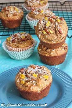 skinny mango coconut walnut muffins