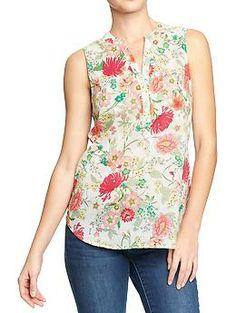 Women's Sleeveless Poppy-Print Blouses | Old Navy $22.94