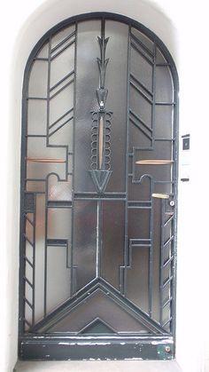 Art Deco glass and metal door