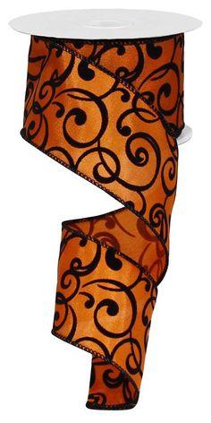 2.5 Orange Black Velvet Swirl Ribbon Orange by CustomWreathDecor