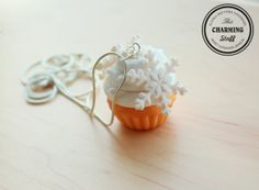 snowflake cupcake necklace - handmade polymer clay jewelry.Great as Christmas gift!