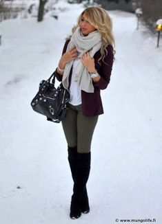 winter outfit - so cute & lovely idea with what to wear my thigh high boots with!