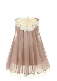 Perfect for wedding, birthday, easter, and other occasion Accented ruffle lace around the neck Layered knee length skirt Lined with center back zipper Dry Clean Only Made in USA