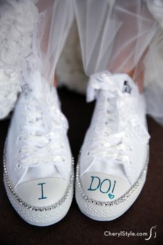 DIY bling sneakers for the bride spell all-day comfort