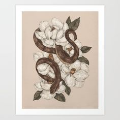 Snake surrounded my magnolia flowers.<br/> <br/> water moccasin…