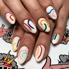 This contains an image of: {{ pinTitle }} Stylish Nails, Trendy Nails, Do It Yourself Nails, Nagellack Design, Funky Nails, Funky Nail Art, Colorful Nail Art, Fire Nails, Minimalist Nails